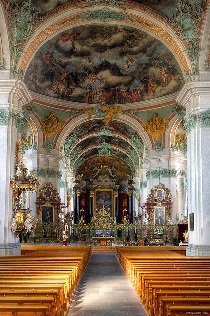 An interior view of the cathedral at St. Gallen Abbey, Switzerland