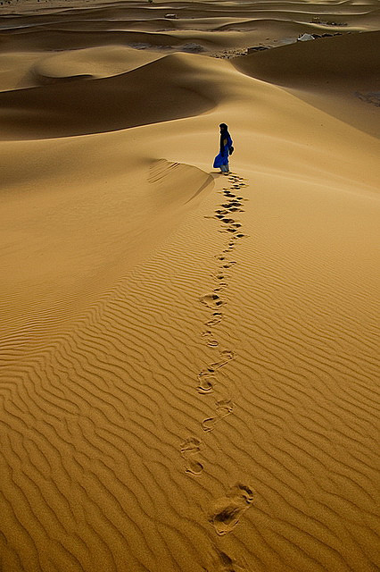 Footprints in the sand, Chigaga Dunes, Morocco