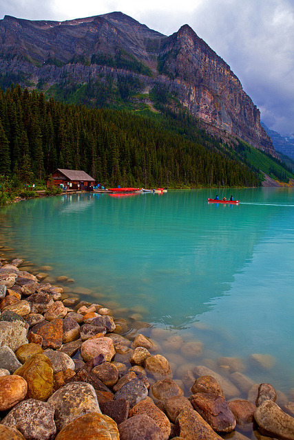 Turquoise coloured water of Lake Louise, Canada