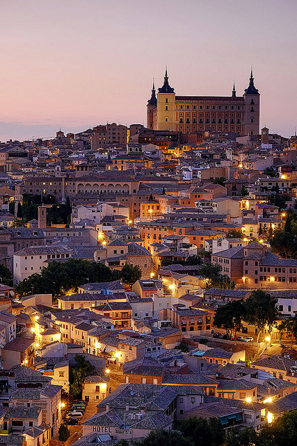 Evening lights in Toledo, Castilla La Mancha, Spain