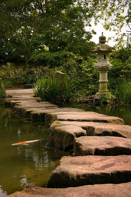 Stone path at the japanese gardens in Kaiserslautern / Germany